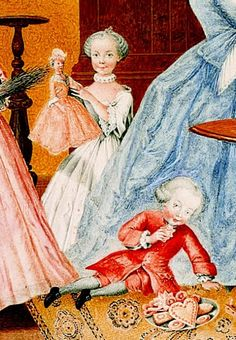 Circa 1760: detail of a painting by Maria Christina of Austria, showing her family celebrating the Feast of St. Nicholas. The little girl holding her new doll is Marie Antoinette, and the little boy eating cookies is the youngest child of the family, Archduke Max.