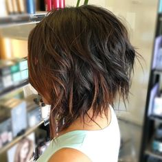 brunette choppy bob with chocolate balayage