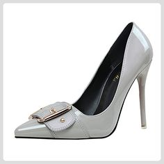 Azbro Women's Pointed Toe Buckle Stiletto Heels Pumps, Grey EURO38/US7/UK5 - Damen pumps (*Partner-Link)