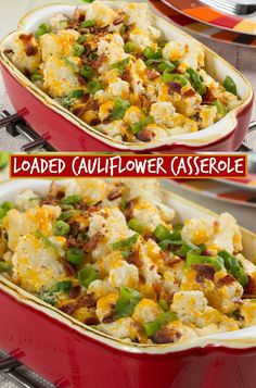 Loaded cauliflower casserole - if you like the taste of a loaded baked . - Loaded cauliflower casserole – If you love the taste of a loaded baked potato, but not in your di - Loaded Cauliflower Casserole, Cauliflower Recipes, Vegetable Recipes, Parmesan Cauliflower, Loaded Baked Cauliflower, Califlower Casserole, Crockpot Cauliflower, Cauliflower Mac And Cheese, Potato Casserole