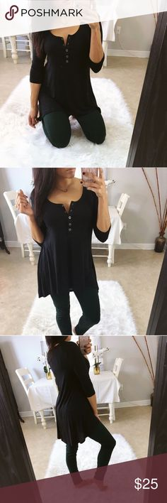 Black button up tunic top See last photo for details. From my boutique @stephanyy Tops Tunics