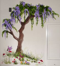 Fairy Tree Mural for Baby Girl Nursery❤️ Art Mural, Mural Painting, Wall Art, Wall Paintings, Tree Wall Painting, Fairy Bedroom, Wisteria Tree, Fairy Tree, Fence Art