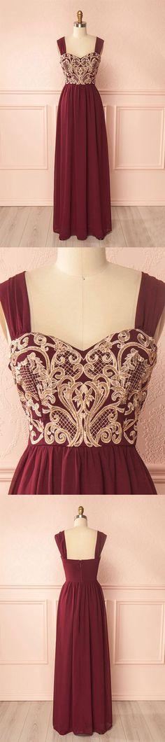 Burgundy chiffon lace applique long prom dress, burgundy evening dress
