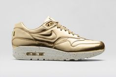 """Originally released exclusively for women back in October, Nike Sportswear's """"Liquid Metal"""" editions of the Air Max 1 are set to make their debut in men's sizes just in time for the holidays."""