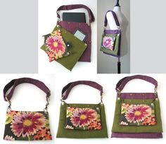 purple green  tote bag , floral purse, detachable 3 section bag, laptop messenger with adjustable strap ,belt bag