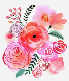 Art, illustration, hand lettering, design, murals and more. Watercolour Painting, Watercolor Flowers, Painting & Drawing, Watercolors, Simple Watercolor, Watercolor Illustration, Art Floral, Floral Prints, Painting Inspiration
