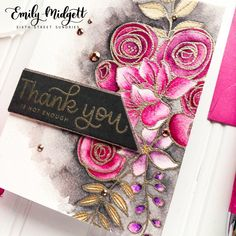 Emily Midgett: Simon Says Stamp Sketched Flowers and Thanks and Leaves (sentiment) stamp sets; Pretty Pink Posh, Simon Says Stamp, Watercolor Cards, Creative Cards, Flower Cards, Card Kit, Diy Cards, Making Ideas, Cardmaking