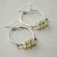 Earrings Handmade Items similar to Prehnite Row Earrings- prehnite, sterling silver, goldfill. Wire Wrapped Jewelry, Metal Jewelry, Beaded Jewelry, Jewelry Art, Silver Jewelry, Jewelry Design, Jewelry Ideas, Jewellery Box, Jewellery Exhibition