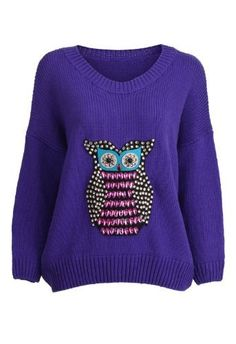 Romwe Womens Lovely Beaded Owl Front Jumper-Blue-One Size Romwe,http://www.amazon.com/dp/B00BIENERI/ref=cm_sw_r_pi_dp_PfuOrbD317A04AAA