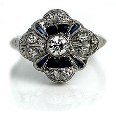Art Deco 14 Kt White Gold Old European Cut Diamond and Sapphire Engagement Ring Circa Early 1900's #weddings