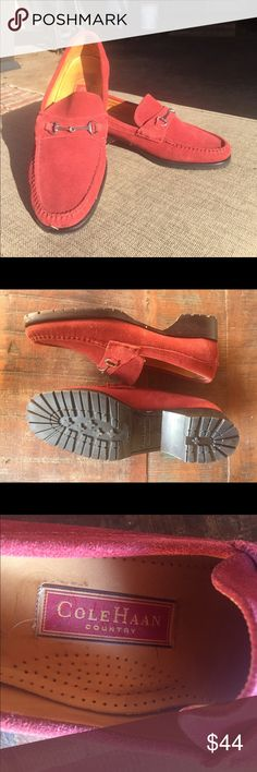 Cole Haan Red Suede Loafer Country Collection Floor sample Cole Haan red suede loafer. Silver equestrian hardware. Vibram lug sole. I wore them once & found them tight in the heel. They look absolutely brand new. Cole Haan Shoes Flats & Loafers