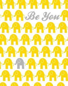 Elephants Kids Art, Children's Inspirational Quote, Yellow and Grey Elephant Nursery Decor, Elephant Poster, Large Wall Art 16x20