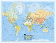 Bacher Weltkarte Politisch Deutsch 200 cm x 150 cm