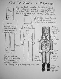 How To Draw A Nutcracker Worksheet. You can read the lesson at the blog: http://drawinglessonsfortheyoungartist.blogspot.com/2012/12/how-to-draw-nutcracker-worksheet.html