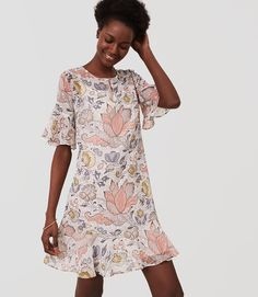 LOFT Shimmer Floral Flounce Dress