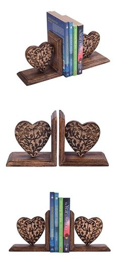 New Year Gifts Decorative Book Ends Rack Display Stand Holder Organizer Hand Carved Wooden Heart Shaped Bookend Pair Bookshelf