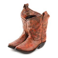 Classic Cowboy Boots Planter Rustic Indoor Outdoor Poly Resin Western Decoration