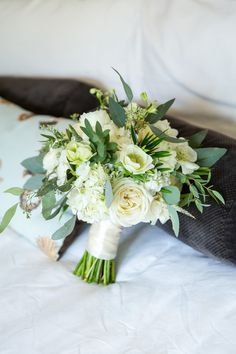 Timeless natural green and white wedding bouquet idea - bouquet of garden roses, astilbe, hydrangeas, hellebores, veronica, and seeded eucalyptus {Kristen Jane Photography}