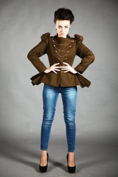 Such a fun jacket!  I imagine over a billowy skirt, it might actually make my hips look smaller. ;*)      Laura Galic -http://www.etsy.com/listing/88443068/zoe-kaki-jacket-free-shipping