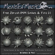 Free Monster Mash - ZBrush Brushes - Spikes & Fins 01