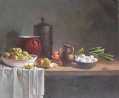 paintings of Apple ,  gallipot , flagon , table clothing painti by