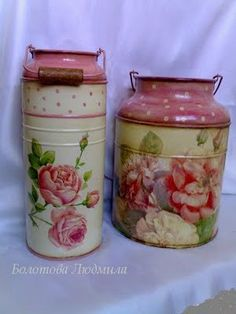 like the color Decoupage Vintage, Decoupage Art, Painted Milk Cans, Old Milk Cans, Foto Transfer, Diy And Crafts, Paper Crafts, Altered Bottles, Country Crafts
