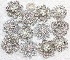 12 pcs Wedding Bridal Bridesmaid Gift Rhinestone Pin Brooch Bouquet Embellish