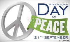 Silver Peace Symbol and Ribbon for International Day of Peace International Day Of Peace, Illustration, Ribbon, Symbols, Posts, Silver, Tape, Messages, Band