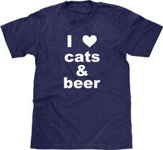 Funny Cat TShirt, Cat T Shirt, I Love Cats & Beer, I Heart Cats, Animal Tshirt, Tee, Funny Cat Shirt, Funny Animal Shirt, Mens Plus Size