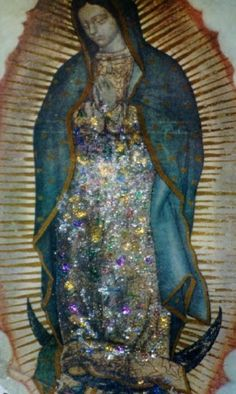 Visions of Jesus Christ.com - Photo of Miraculous Image of Our Lady of Guadalupe covered in escarchas/frosts.