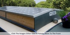 Narrowboat Tidy Top box - roof storage plus solar panel Canal Boat Interior, Barge Interior, Canal Barge, Narrowboat Interiors, Roof Storage, Dutch Barge, Living On A Boat, Boat Projects, Narrow House