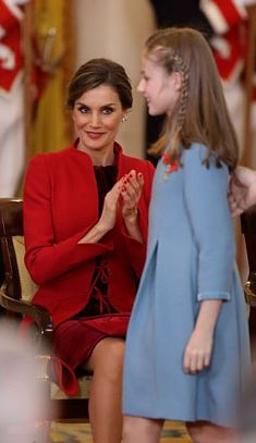 Proud mother Queen Letizia of Spain to award their eldest daughter Crown Princess Leonor with the Order of the Golden Fleece, who looked smart in a pale blue frock with a velvet trim for the occasion.