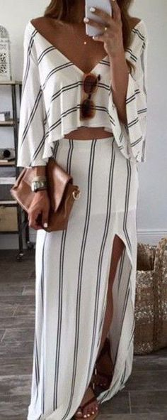 #summer #seaside #outfits   White Striped Bandeau Backless Boat Neck Sexy Maxi Dress