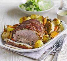 Herb roast pork with vegetable roasties apple gravy recipe BBC Good Food, Pork Tenderloin with Roasted Fall Vegetables Recipe Video Mart. Roast Pork With Vegetables, Roasted Fall Vegetables, Roast Dinner, Sunday Roast, Pork Leg Roast, Pork Loin, Easy Stuffed Cabbage, Bbc Good Food Recipes, Roast Recipes