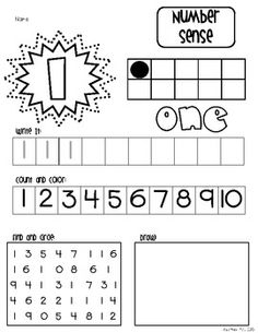 Number Sense Practice For Numerals 1-10