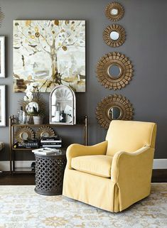 love the grey walls for our bedroom with a pop of yellow - amazing!