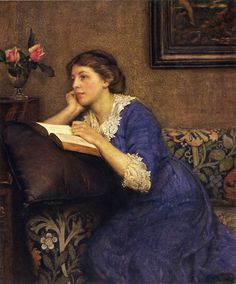 Portrait of Winifred Robers (1913). Eleanor Fortescue-Brickdale (English, 1871-1945). Tullie House Museum and Art Gallery. Artist Winifred Nicholson née Roberts (1893–1981) as a young woman, seated with book on a couch upholstered in Morris and Co.'s Compton pattern (designed by John Henry Dearle in 1896). To top right is the lower section of Cupid Driving the Lovers (1912) by Byam Shaw which was owned by the sitter.