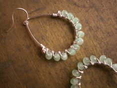 ❥ Kantalai Mint Green Glass Rondelle Wire Wrapped Teardrop Chandelier Earrings TUTORIAL