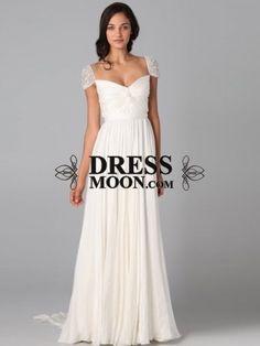 I like this - A-Line/Princess Sweetheart Beading Short Sleeves Sweep/Brush Train Chiffon Dress.