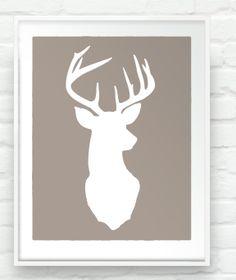 Deer Oh Deer -  17x20 inch Stag Head Antlers Silhouette Print Rustic Cabin Woodland Chic Wall Art. $60.00, via Etsy.