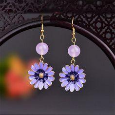 Cloisonne Chrysanthemum Flower Earrings For Women