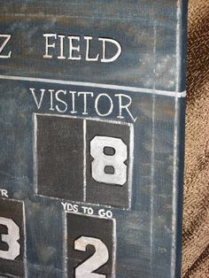 Are you ready for some football? Vintage look scoreboard personalized for you. Great for a baby nursery or game room