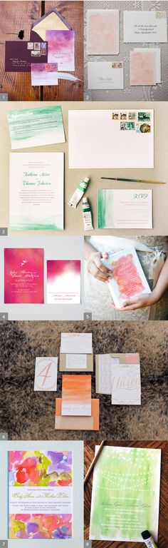 Watercolor Wedding Invitations, hifrienddesign.com