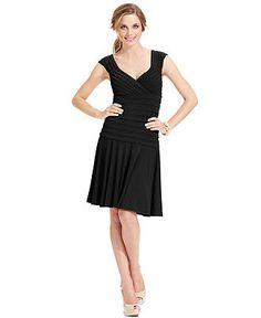London Times Dress, Cap-Sleeve Pleated - Womens Dresses - Macys