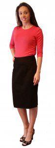 Cotton Pique Knee Skirt - $39.00 :: DCM Apparel - Modern Modest Clothing