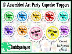 Art party Cupcake toppers Paint Splatter Cupcake Toppers