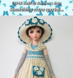 "OOAK  set for Iplehouse KID resin BJD.  ""Teal Ragamuffin"" Complete outfit, dress, hat and accessories set.  Shoes included! 9 pieces in all."