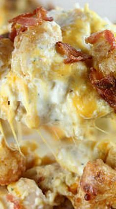 Chicken Bacon Ranch Tater Tot Casserole- I would amp up the bacon, and I'd add some seasonings and hot sauce.