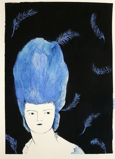 Antoinette with feathers - Original painting on paper / Melodie Stacey