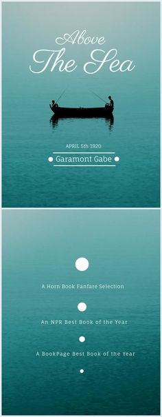 Here's a great example of a dreamy book cover featuring a romantic photography of the sea and the silhouette of a fishing boat with two people in it.